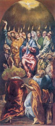 Virgin Mary with Jesus' apostles received Holy Spirit